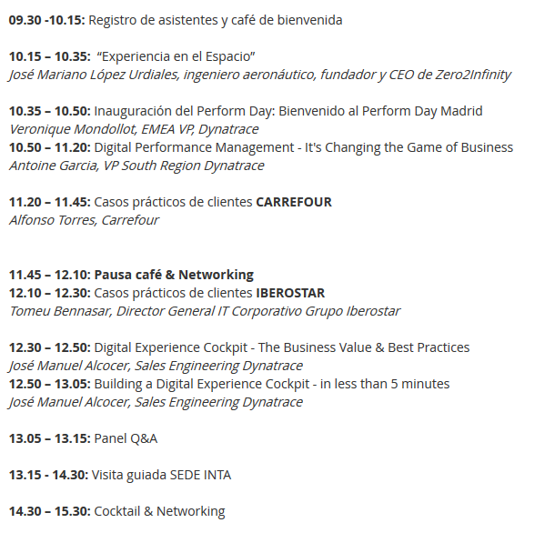 Dynatrace Perform day Agenda